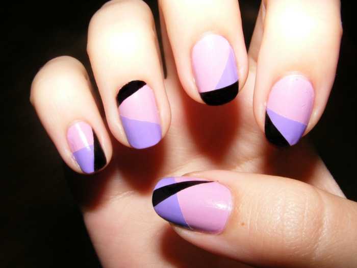 nail design black purple light pink combine nail trends