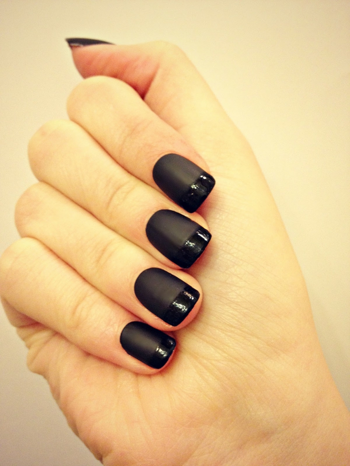 nail design black matt gloss beauty lifestyle