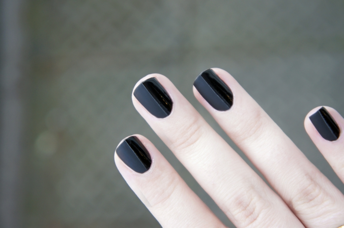 nail polish ideas black elegant matt half