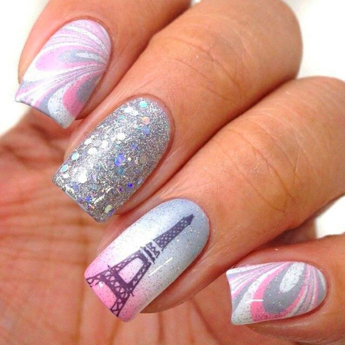 Diseños de uñas Nail Nails Design Nail Art Torre Eiffel Glitter Nails Nail Polish Gel Nails
