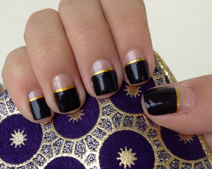 nail polish ideas french manicure nail trends black golden stripes