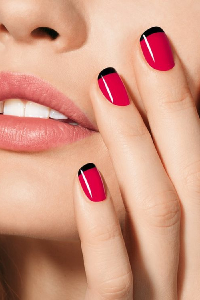 nail polish ideas french manicure black red