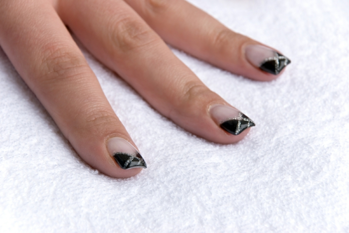 nail polish ideas black french manicure