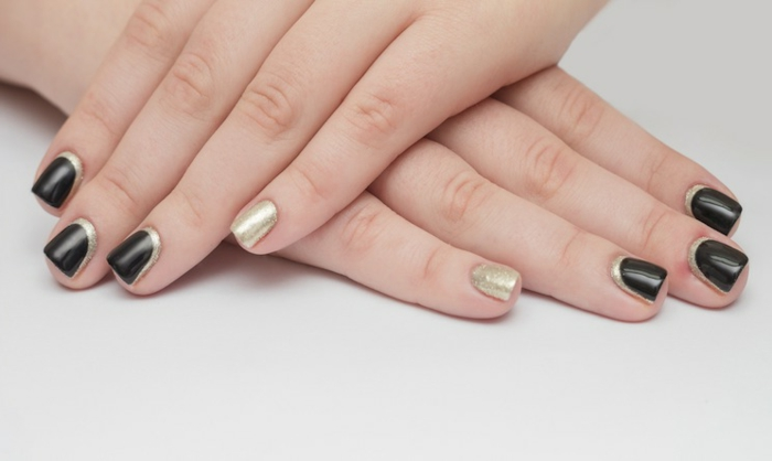 nail polish ideas black gold french manicure