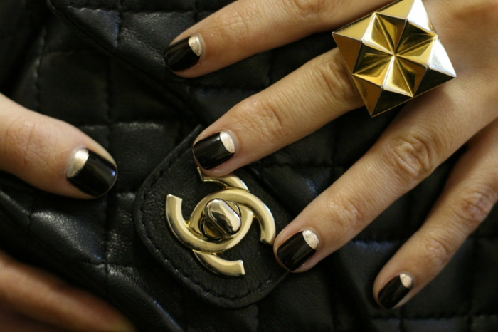 nail polish ideas black gold combine ideas