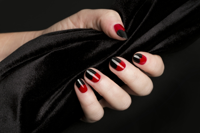 nail polish ideas black red combination