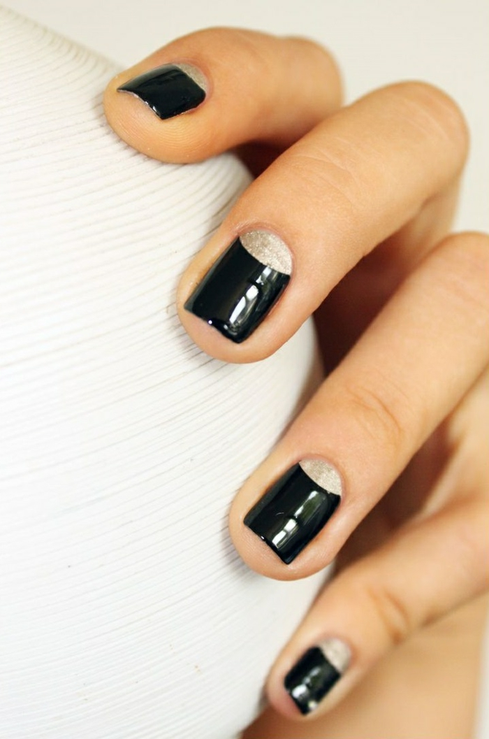 nail polish ideas black manicure french