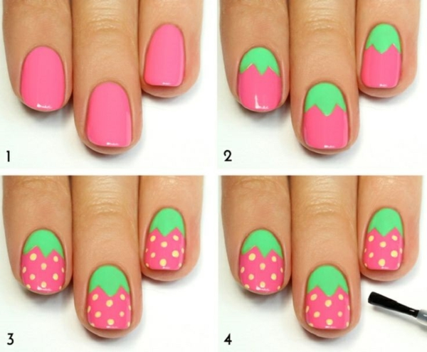 nail art summer holiday nail design pictures strawberry pattern