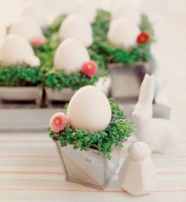 cute easter decoration table white eggs idea