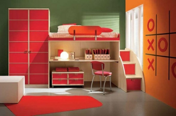 orange red interior in the youth room desk bed
