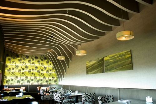 original ceiling cladding hanging waves form visually visually