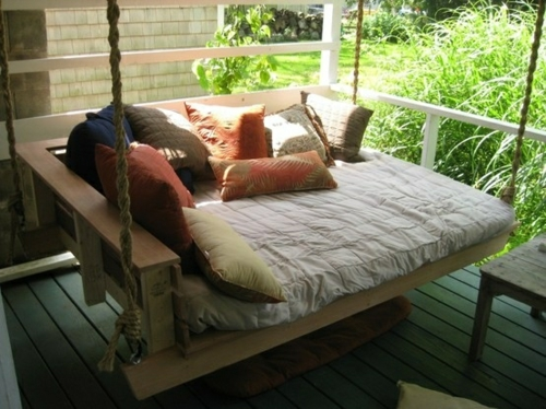 original beds hang bed on the porch