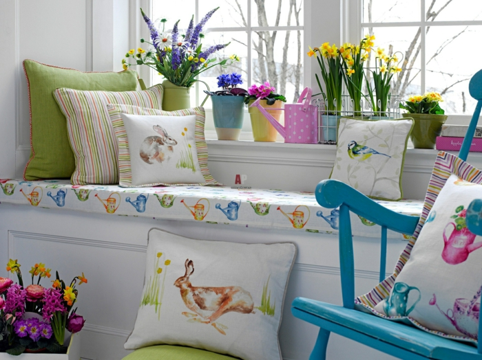 easter decoration tinkering ideas window decoration primrose daffodils hyacinth