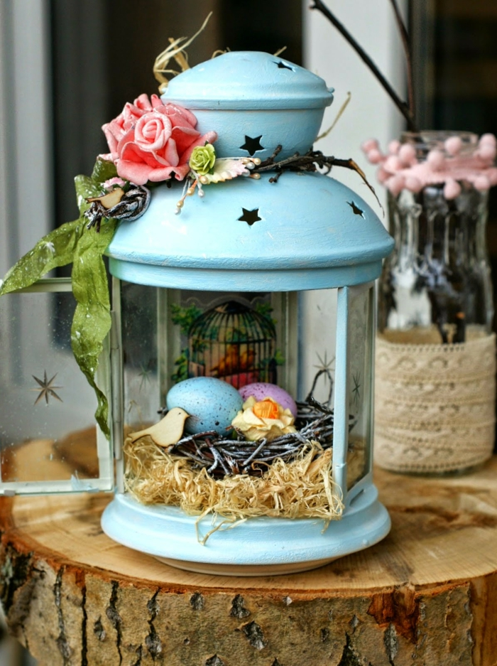easter decoration tinker ideas metal lantern easter eggs roses wooden block