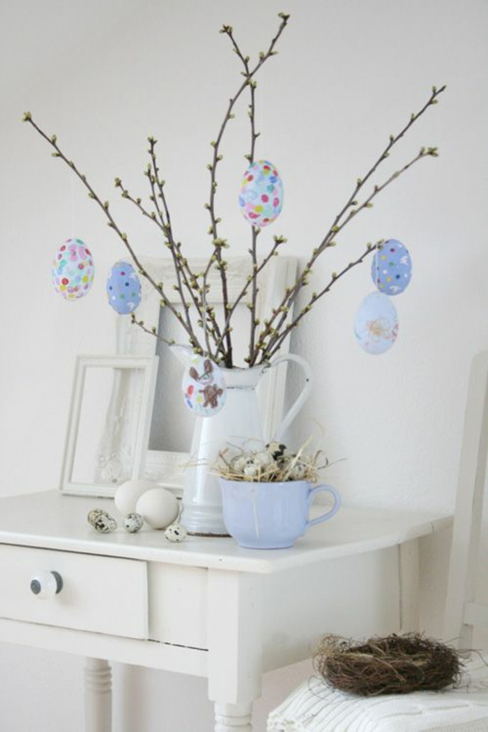 easter decoration tinkering ideas easter eggs spring branches quail eggs retro dresser bedroom