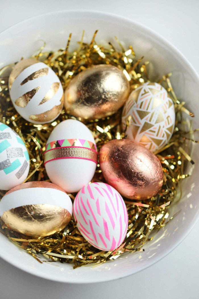 easter decoration tinker ideas easter eggs tinsel gold table decoration