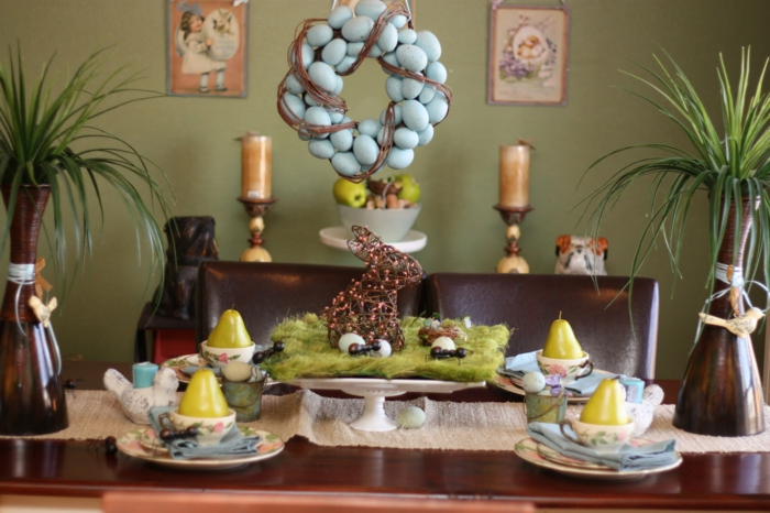 easter decoration tinker ideas table decoration moss bunny easter eggs grass vases