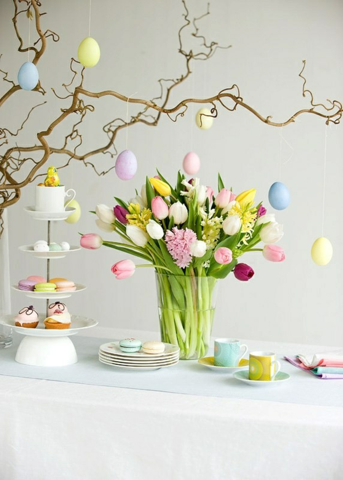 easter decoration tinker ideas table decoration easter eggs branches cake boxes tulips quail eggs easter eggs