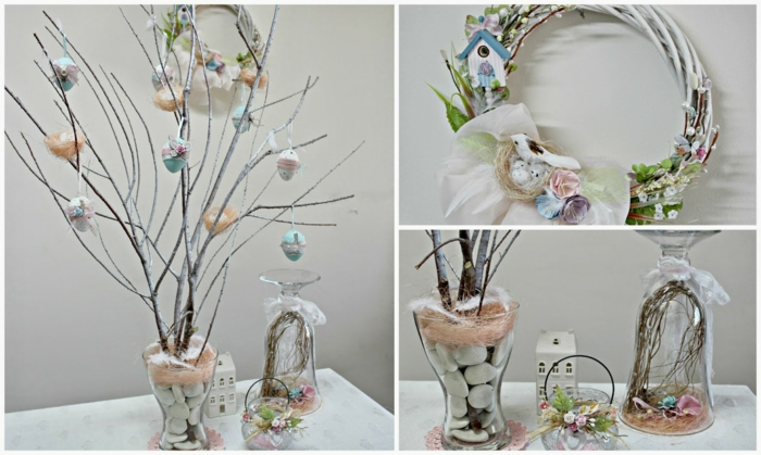 make yourself decoration glasses branches easter eggs gravel stones