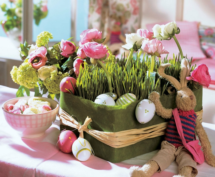 easter decoration tinker ideas table decoration make yourself easter bunny easter eggs planter grass