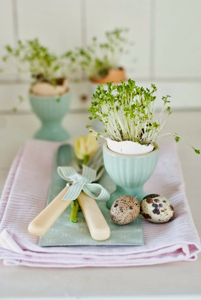 easter decoration tinker ideas table decoration quail eggs easter eggs eggshells cutlery cress