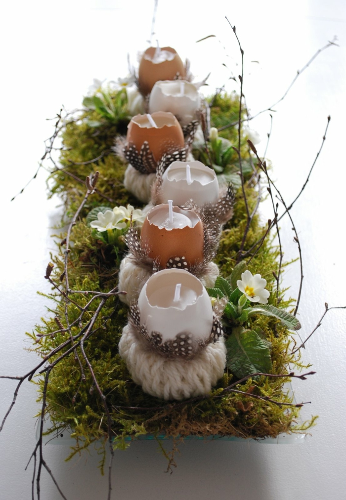 easter decoration tinker ideas table decoration moss egg shells wind lights make feather wool