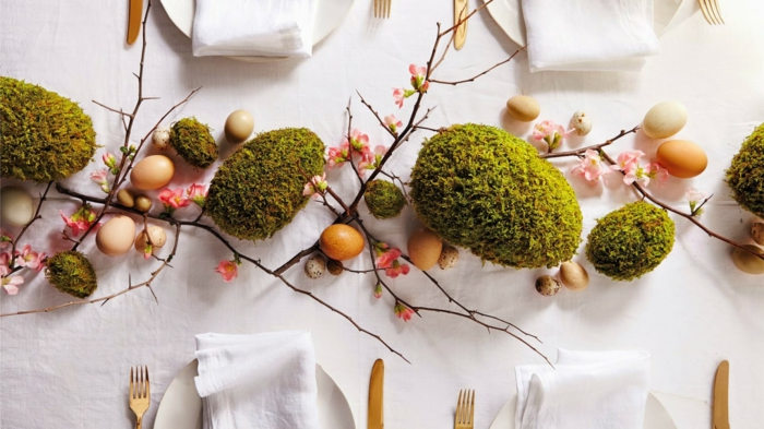 easter decoration tinker ideas table decoration moss easter eggs quail eggs spring branches