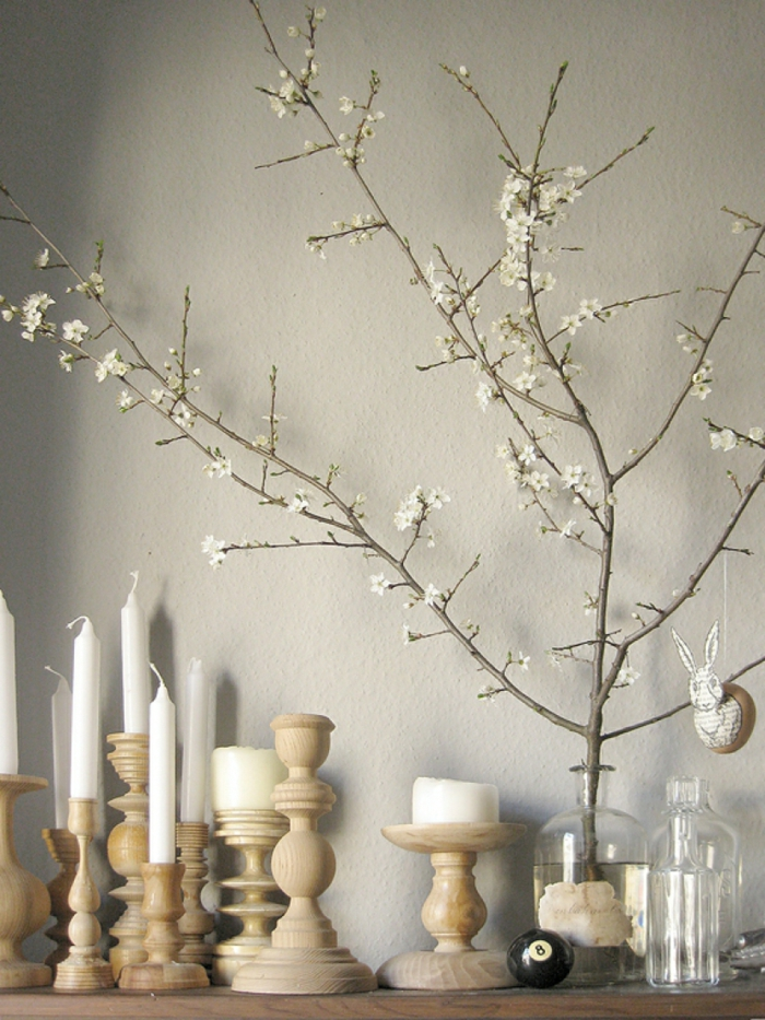 easter decoration ideas easter eggs self tinker wood candlestick spring branches