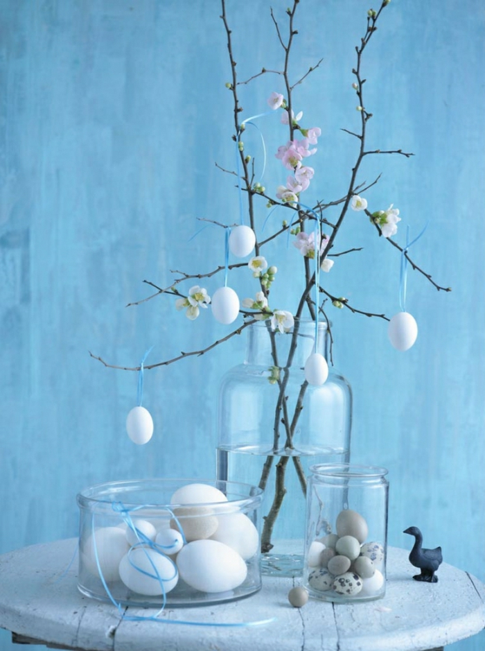 easter deco ideas table decoration make yourself spring branches easter eggs glass container