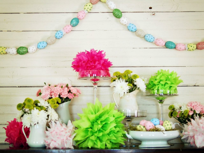 make Easter decoration yourself ideas Easter eggs garland flowers tinker