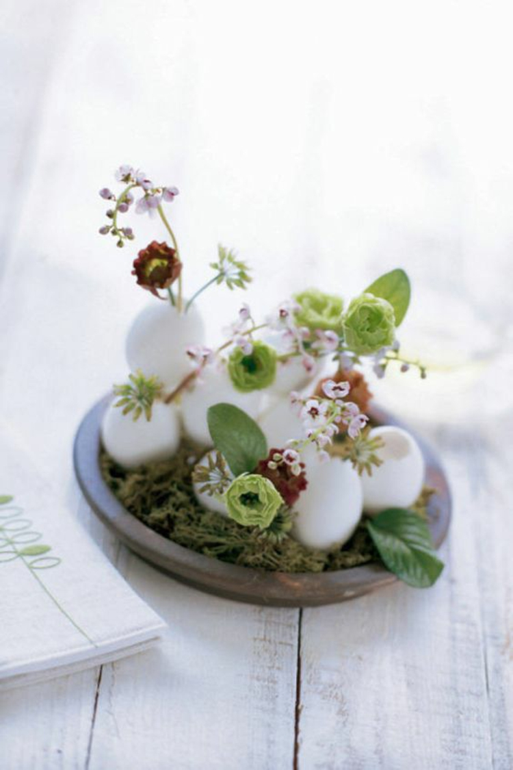 easter decoration blown easter eggs with flowers rustic easter decoration ideas