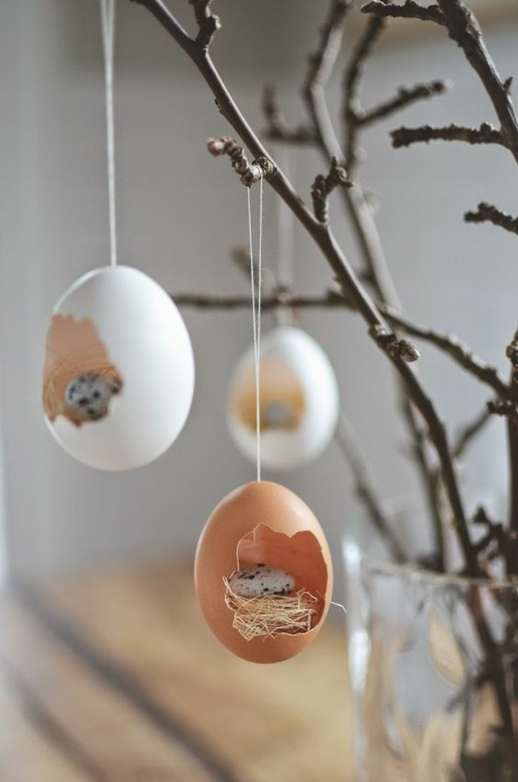 easter decoration blown easter eggs rustic easter decoration ideas
