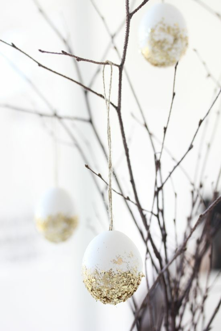 easter decoration glitter easter eggs rustic easter decoration ideas