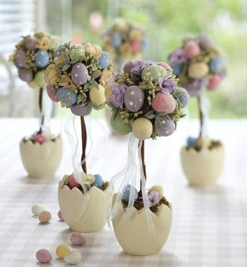 easter decoration fresh festive easter eggs bunny chick quail trees