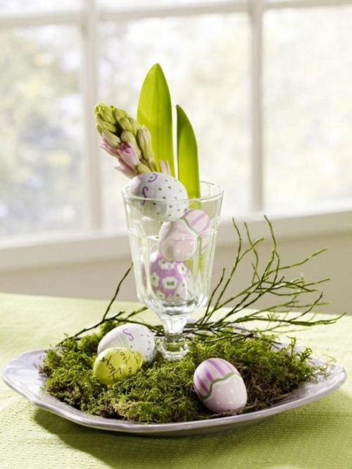 easter decoration fresh festive easter eggs hare chick quail yellow fresh colors vase spring holiday