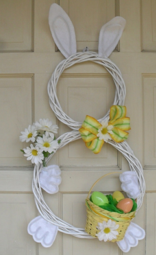 easter decoration fresh festive easter eggs bunny chick quail yellow wreath