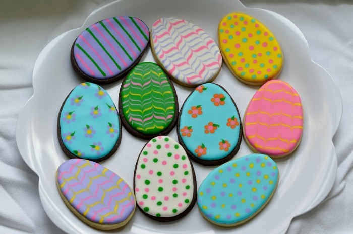 Easter cookies baking biscuits decorate colorful easter eggs decorate