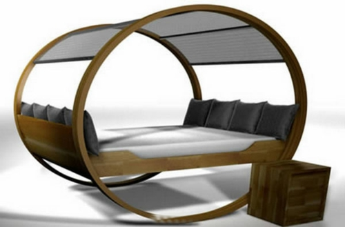 oval-shape-design-poster bed-blue-cushion-minimalist