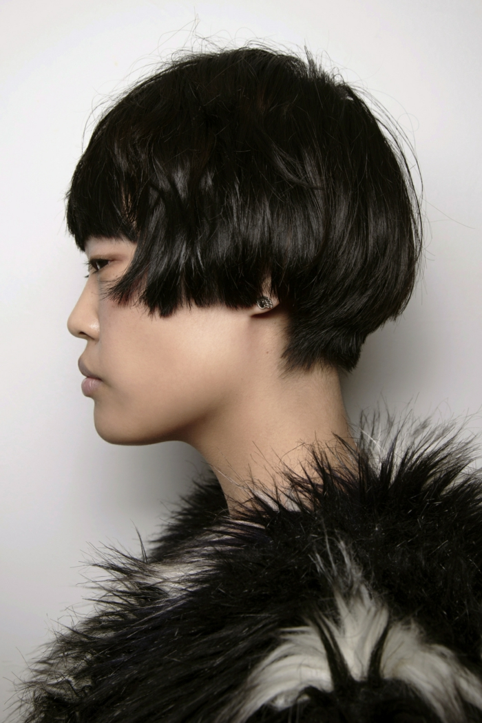 page cut with pony short bob pages hairstyle retro style profile