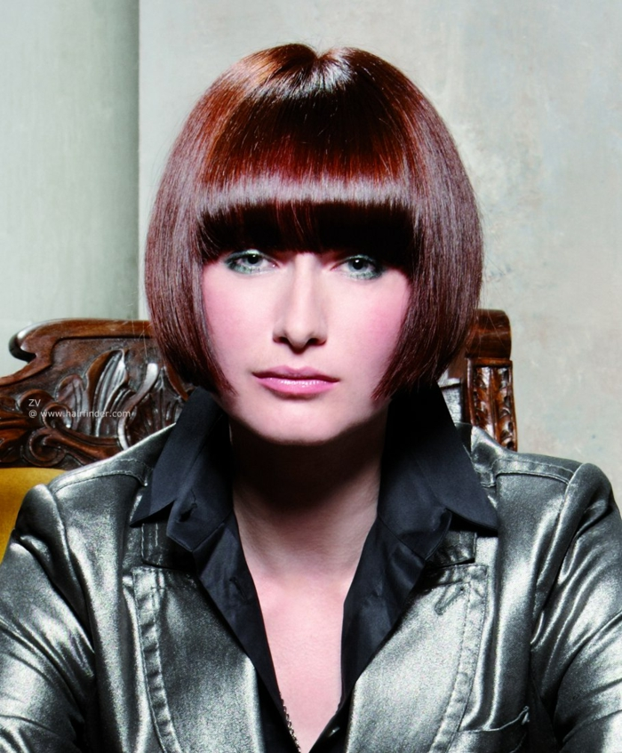 with pony short bob pagen hairstyle retro style reddish