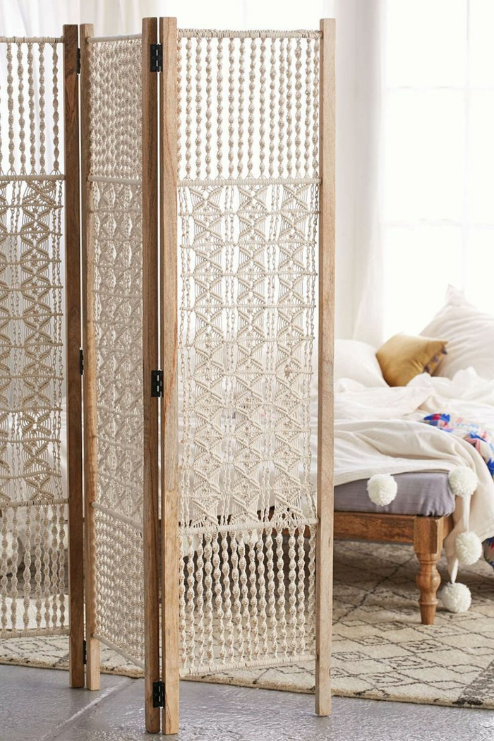 paravents crochet handmade room divider privacy windows ideas
