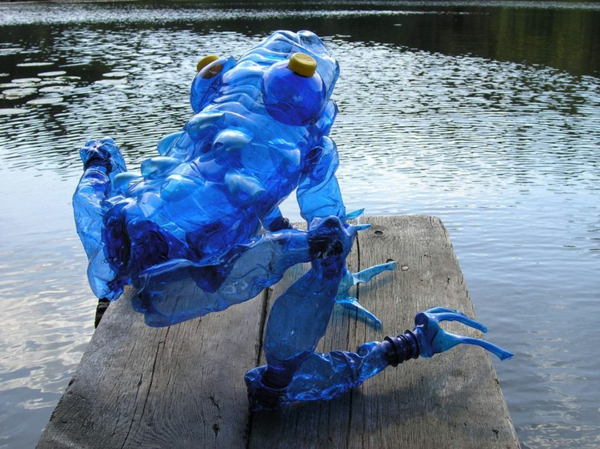pet bottles art kind of gigantic blue frog