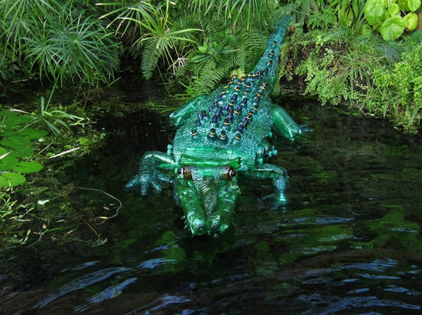 art bottles plastic art crocodile
