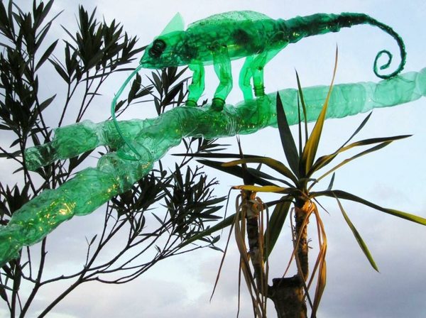 pet bottles art chameleon green