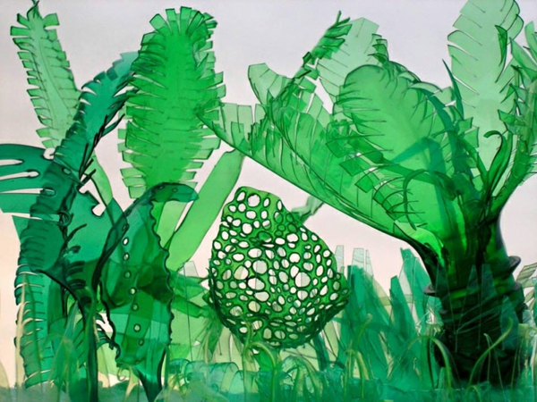 pet bottles art palms jungle