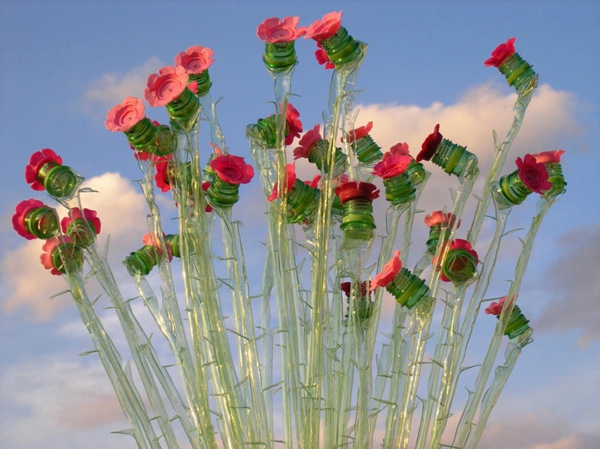 pet bottles art roses thorns plastic