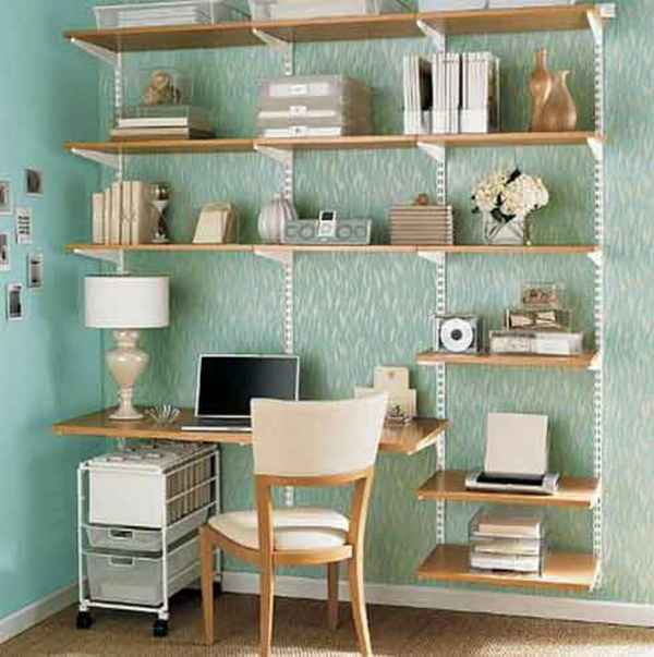 shelves and desk in light wood and metal