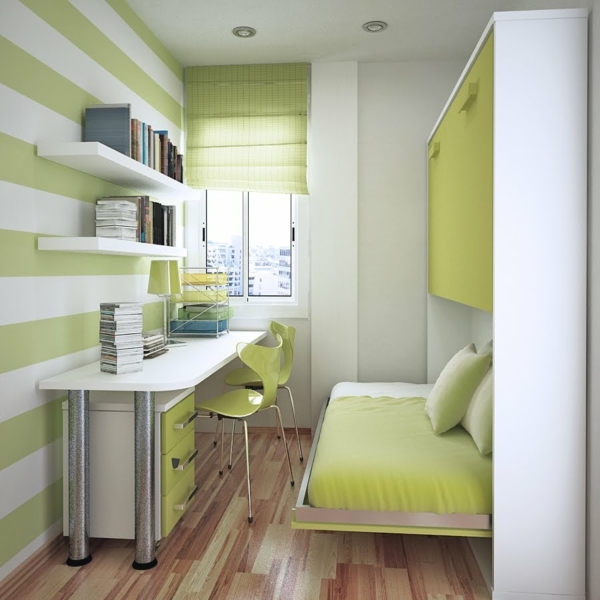 shelves and desk smooth surfaces and lime tones