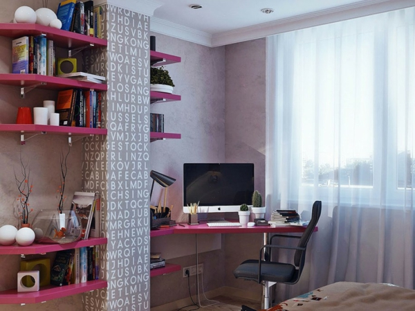 shelves and desk in pink with pillar