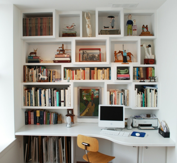 shelves and desk oval and rectangular shapes